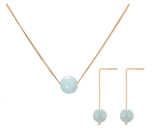 Set: Solo Necklace and Earrings, Blue Beryl (Aquamarine)
