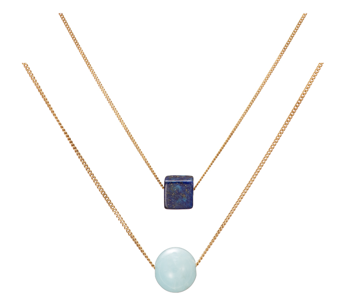 Set: Cubo Lapis Lazuli and Solo Blue Beryl (Aquamarine) Necklaces