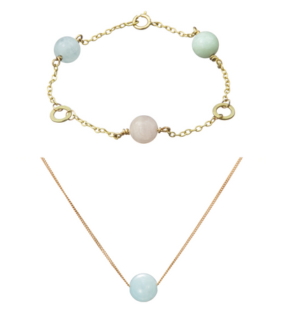 Set: Solo Triple Bracelet and Necklace (Aquamarine, Pink Beryl, Green Beryl)