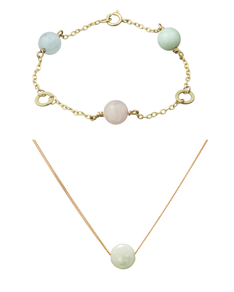 Triple Solo Bracelet and Necklace gift set  (Aquamarine, Morganite, Green Beryl)
