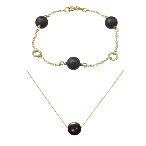 Set: Solo Triple Bracelet and Necklace (Onyx)