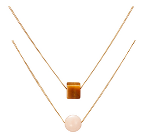 Set: Cubo Tiger Eye and Solo Pink Beryl (Morganite) Necklaces