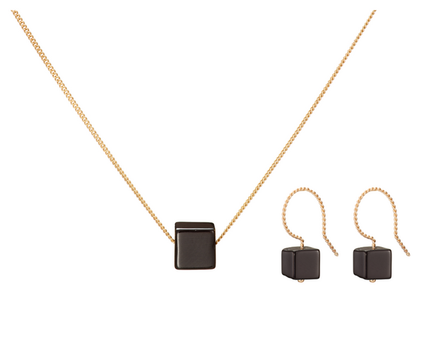 Set: Cubo Necklace and Earrings, Glossy Black (Onyx)