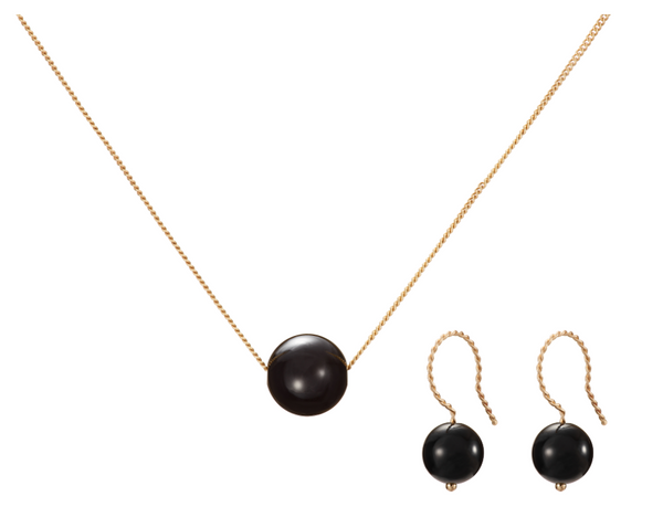 Set: Solo Necklace and Earrings, Gloss Black (Onyx)