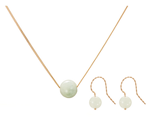 Set: Solo Necklace and Earrings, Green Beryl