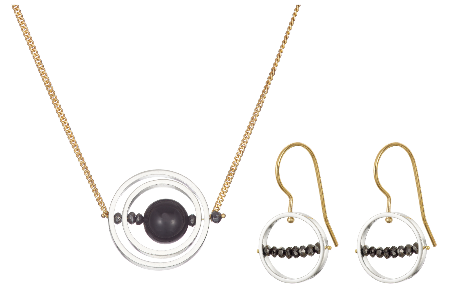 Ice Rink Earrings and Double Axle Necklace Set