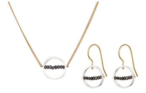 Ice Rink Earrings and Necklace Set