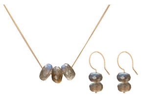 Set: Trio Necklace and Earrings, Labradorite