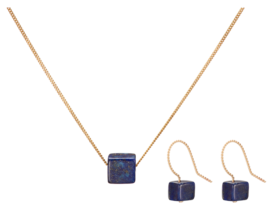 Set: Cubo Necklace and Earrings, Lapis Lazuli