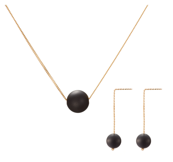 Set: Solo Necklace and Earrings, Matt Black (Onyx)
