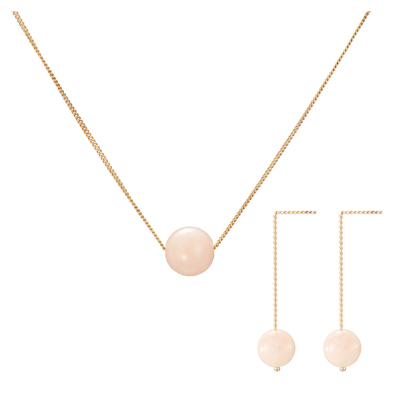 Set: Solo Necklace and Earrings, Pink Beryl (Morganite)