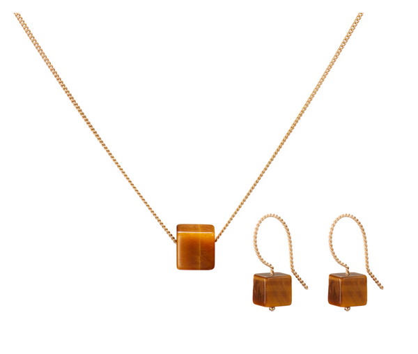 Set: Cubo Necklace and Earrings, Tiger Eye