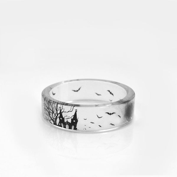 Handmade Transparent Castle and Bat Resin Ring