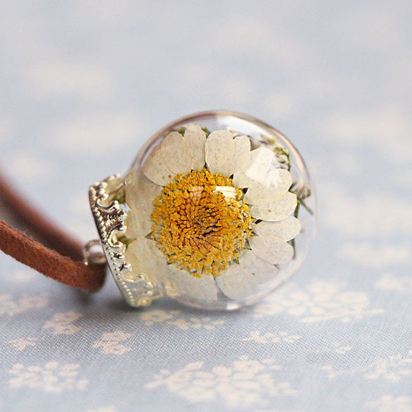 Real Dried Dry Flowers Necklace Glass