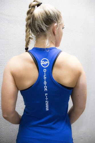 c166ad04 Dictator Fitness No Battle, No Victory Women's Racerback Royal Blue w/ White  Logos