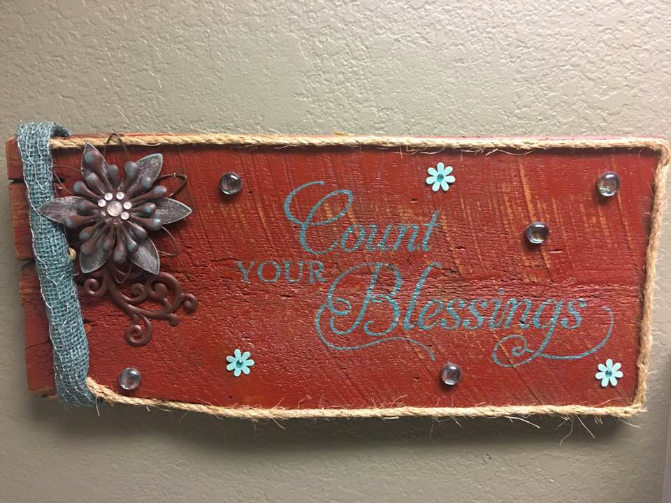 Count Your Blessings Hand Painted Barn Wood Signs