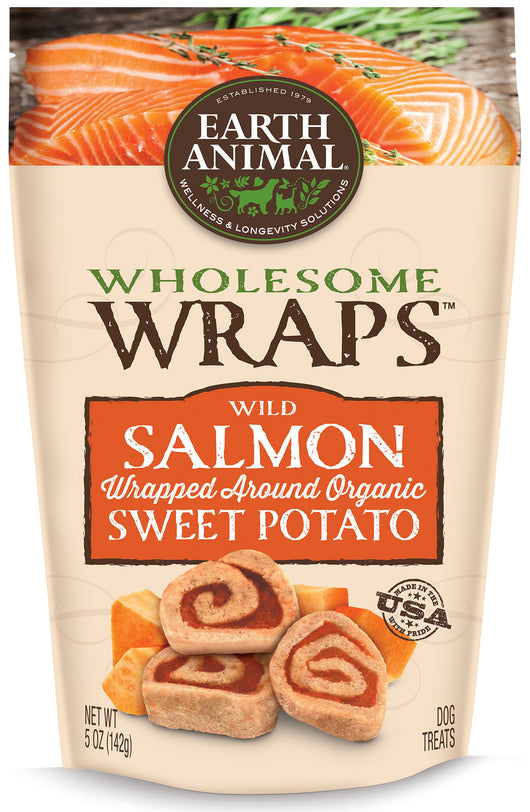 Earth Animal Wholesome Wraps Wild Salmon & Organic Sweet Potatoes 5oz