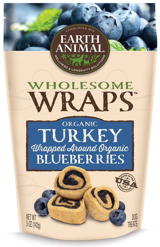 Earth Animal Wholesome Wraps Organic Turkey & Blueberries 5oz
