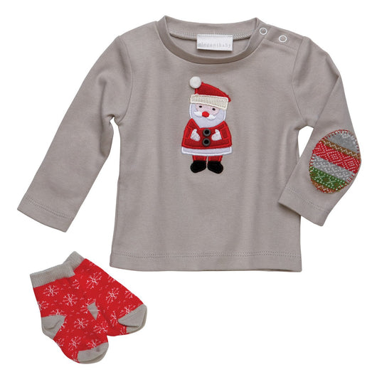 Elegant Baby Santa Christmas Holiday Tee Top & Socks Gift Box Set
