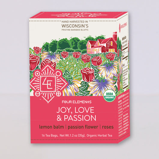 Four Elements Organic Herbals Tea ~ Joy, Love, & Passion 16ct