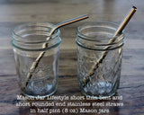 Mason Jar Lifestyle Stainless-Steel Straws ~ Bent