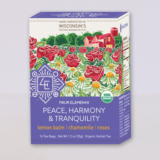 Four Elements Organic Herbals Tea ~ Peace, Harmony, & Tranquility 16ct