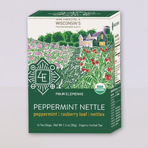 Four Elements Organic Herbals Tea ~ Peppermint Nettle 16ct