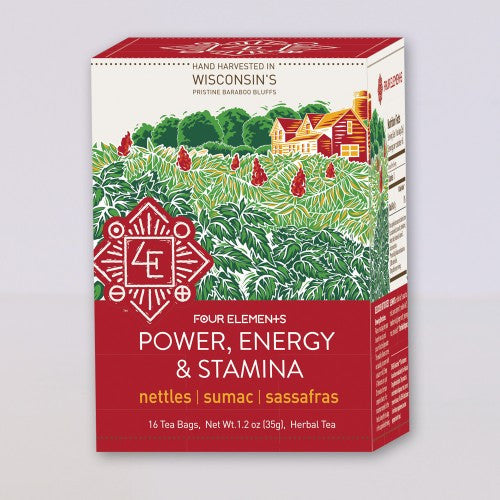 Four Elements Organic Herbals Tea ~ Power, Energy, & Stamina 16ct