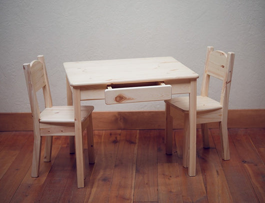 Little Colorado Small Arts and Crafts Table With Open Back Chairs (Set of 2)