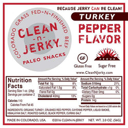 Clean-N-Jerky Organic Turkey Jerky - Peppered