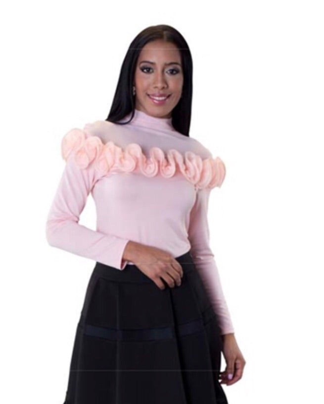Peach ruffled top with sheer detail