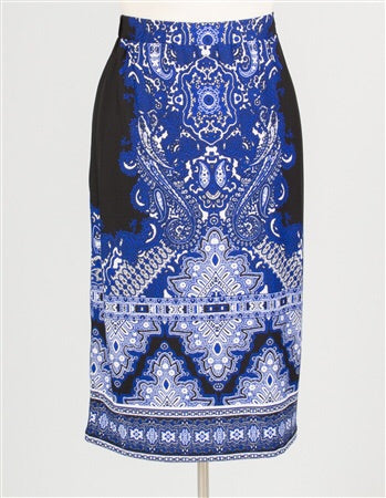 Blue, black, and white print skirt