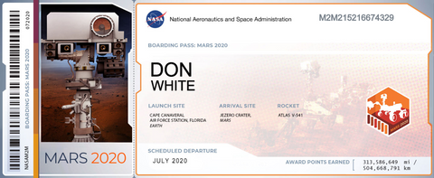 boarding pass for Mars trip
