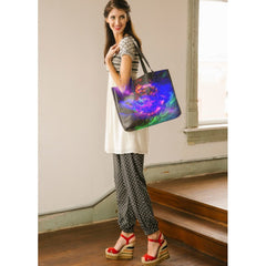 standing model with Heart of the Galaxy tote