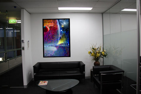 Outpost 7 art in office waiting room