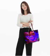 model standing with heart of the galaxy tote bag