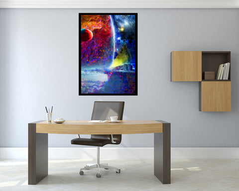 outpost7 outer space art print in office