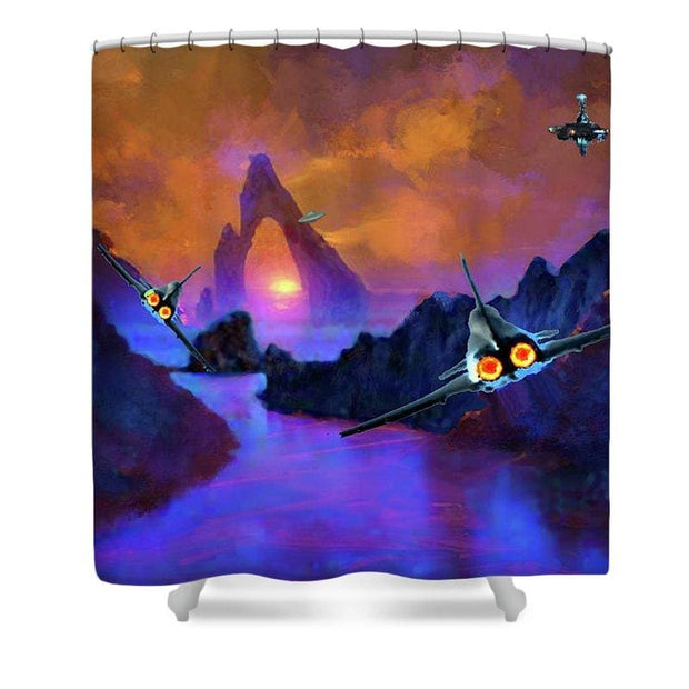 Alien Planet Ambush - Shower Curtain by Don White - Art Dreamer