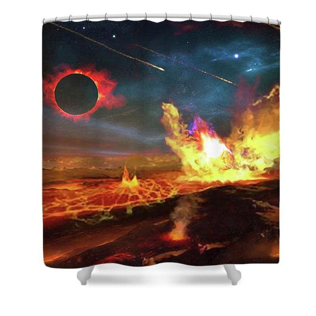 Angry Planet - Shower Curtain by Don White - Art Dreamer
