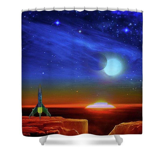 Another Day, Another Planet - Shower Curtain by Don White - Art Dreamer