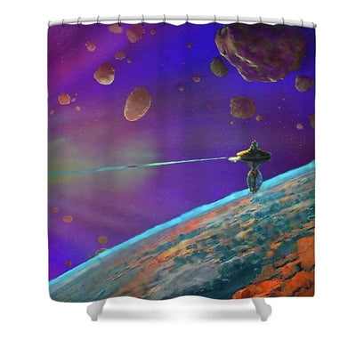 Asteroid Vaporization - Shower Curtain by Don White - Art Dreamer