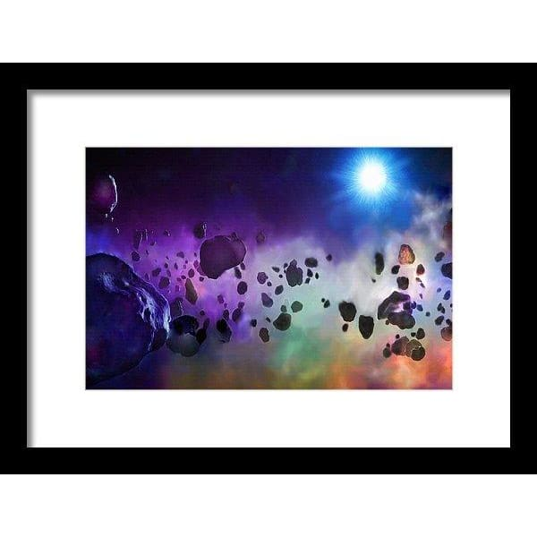 Asteroids Point Of View - Framed Print - 12.000 x 8.000 / Black / White - Framed Print