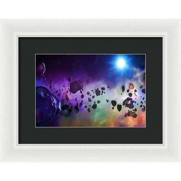 Asteroids Point Of View - Framed Print - 12.000 x 8.000 / White / Black - Framed Print