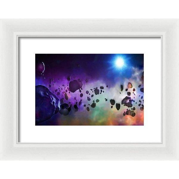 Asteroids Point Of View - Framed Print - 12.000 x 8.000 / White / White - Framed Print