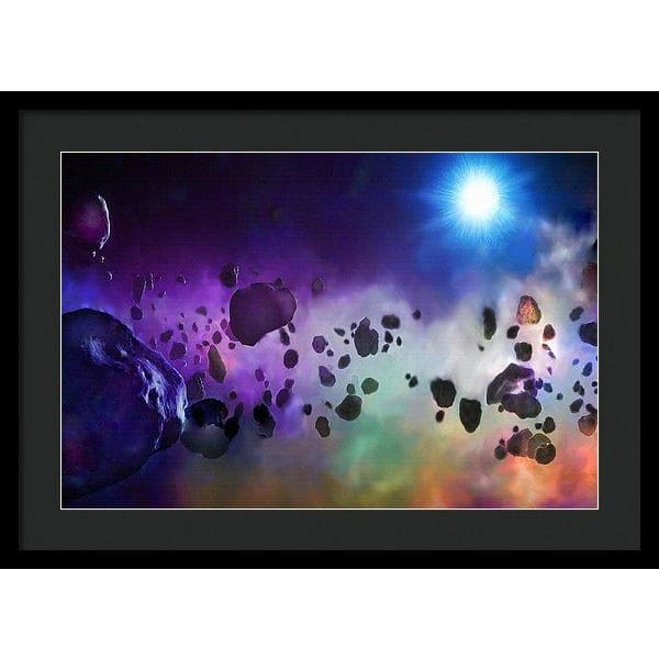 Asteroids Point Of View - Framed Print - 24.000 x 16.000 / Black / Black - Framed Print