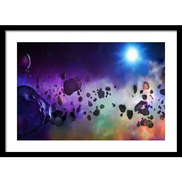 Asteroids Point Of View - Framed Print - 24.000 x 16.000 / Black / White - Framed Print