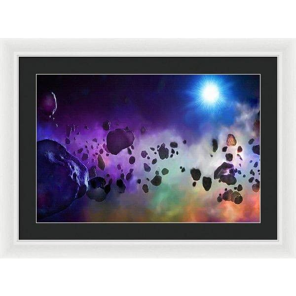 Asteroids Point Of View - Framed Print - 24.000 x 16.000 / White / Black - Framed Print