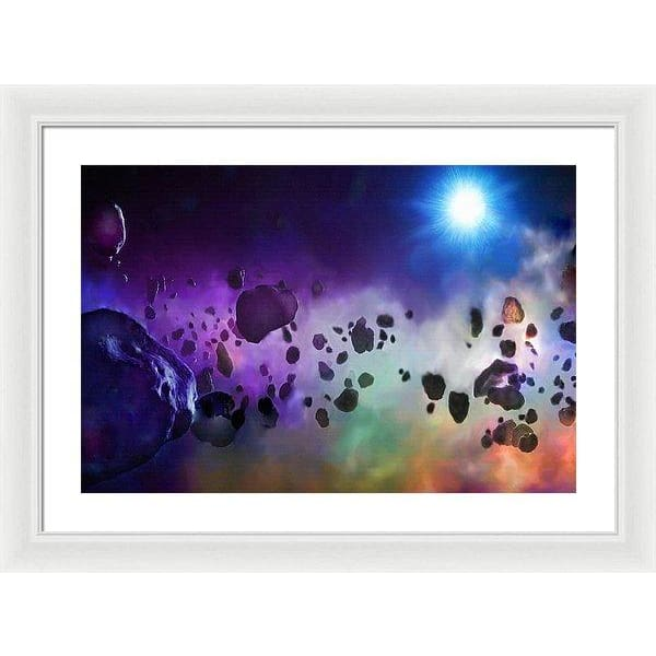 Asteroids Point Of View - Framed Print - 24.000 x 16.000 / White / White - Framed Print