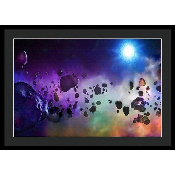 Asteroids Point Of View - Framed Print - 30.000 x 20.000 / Black / Black - Framed Print