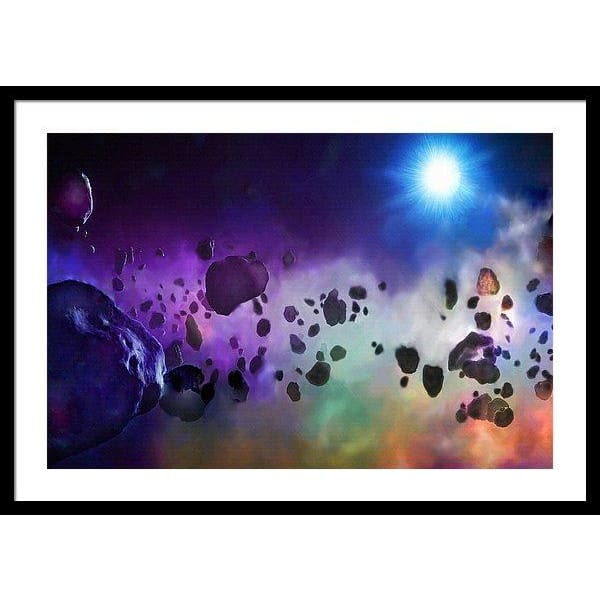 Asteroids Point Of View - Framed Print - 30.000 x 20.000 / Black / White - Framed Print